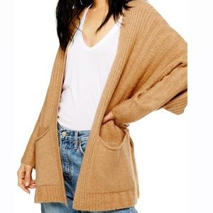 Topshop long cardigan in tan NWT